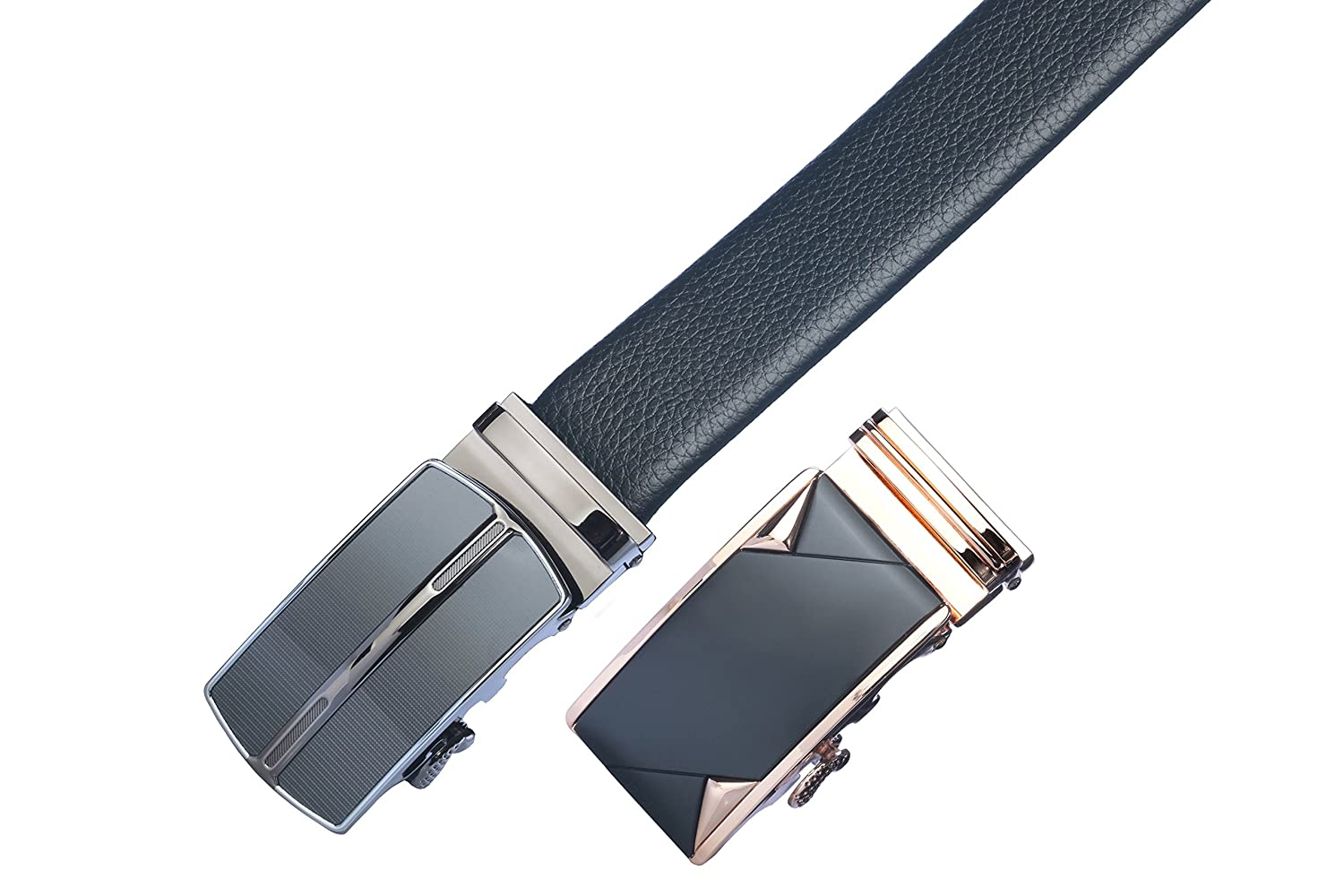 Gift Box James Fiallo Mens 2-Pack Automatic Buckle Ratchet Leather Dress Belt