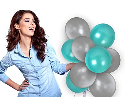 2e492f1946 Amazon.com  Treasures Gifted Silver and Turquoise Metallic Balloons ...