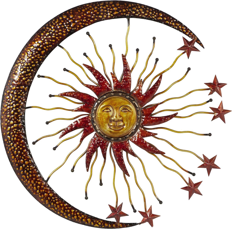 88 cm CUIVRE rustique Sun Moon Stars Celestial Windchime Jardin Suspendu Décoration Cadeau