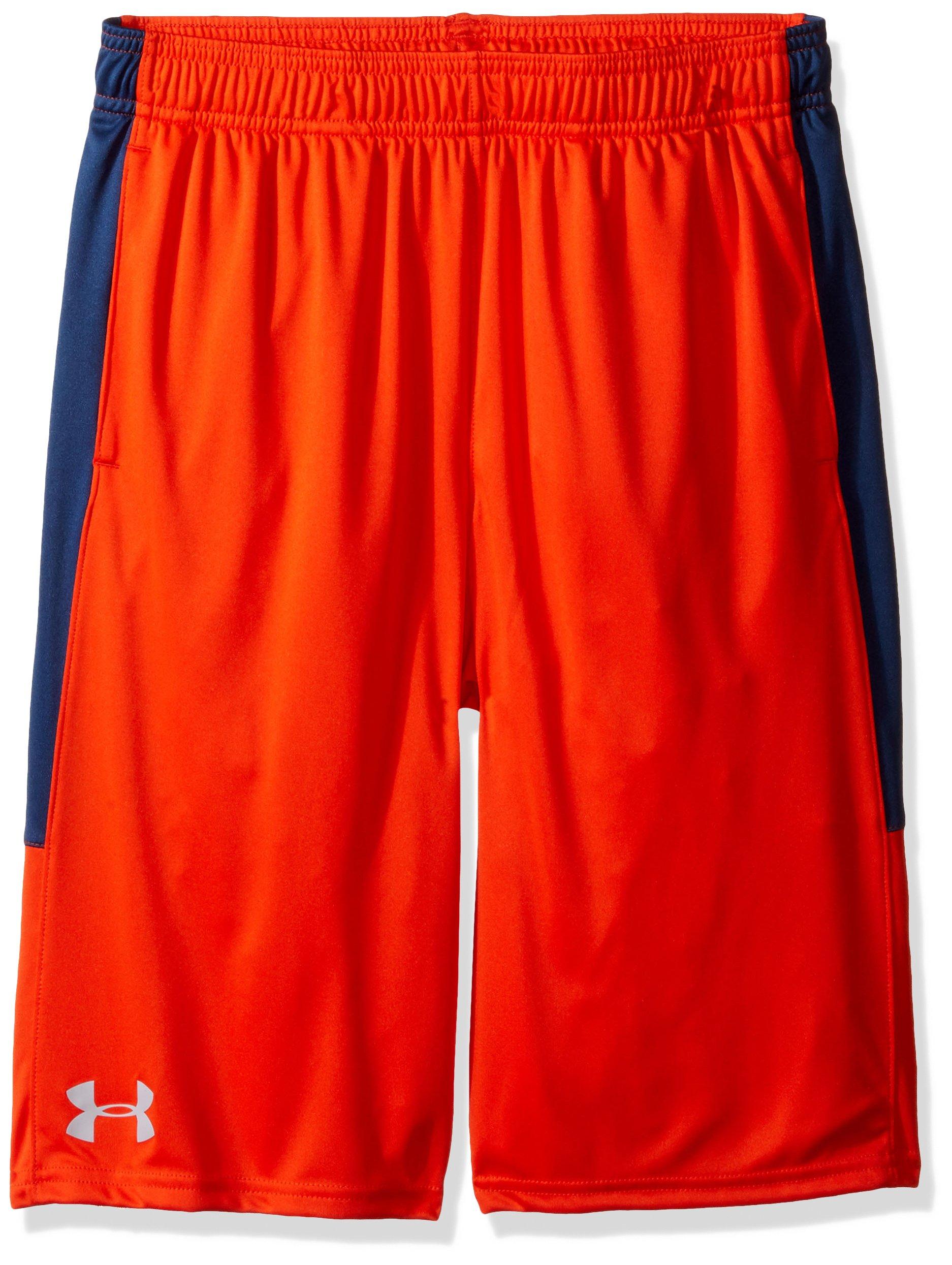 Under Armour Boys Instinct Shorts,Dark Orange /Overcast Gray Youth Small