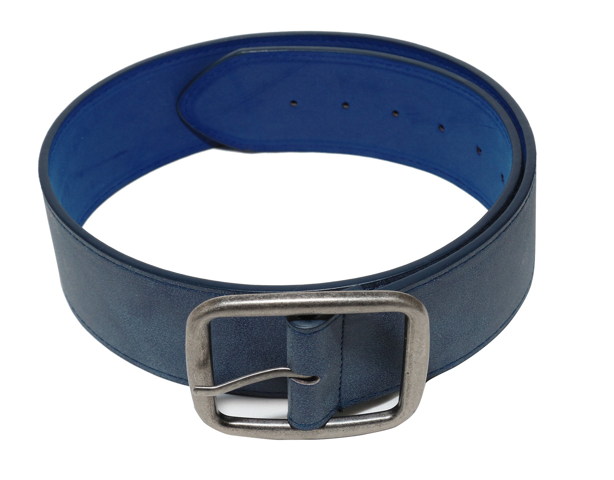Modeway Women 2'' Wide Suede Leather Silver Square Buckle Adjustable Waist Belts (S-M, Navy-4#)