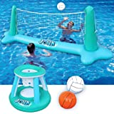 Inflatable Pool Float Set Volleyball Net & Basketball Hoops Balls for Kids and Adults Swimming Game Toy, Floating…