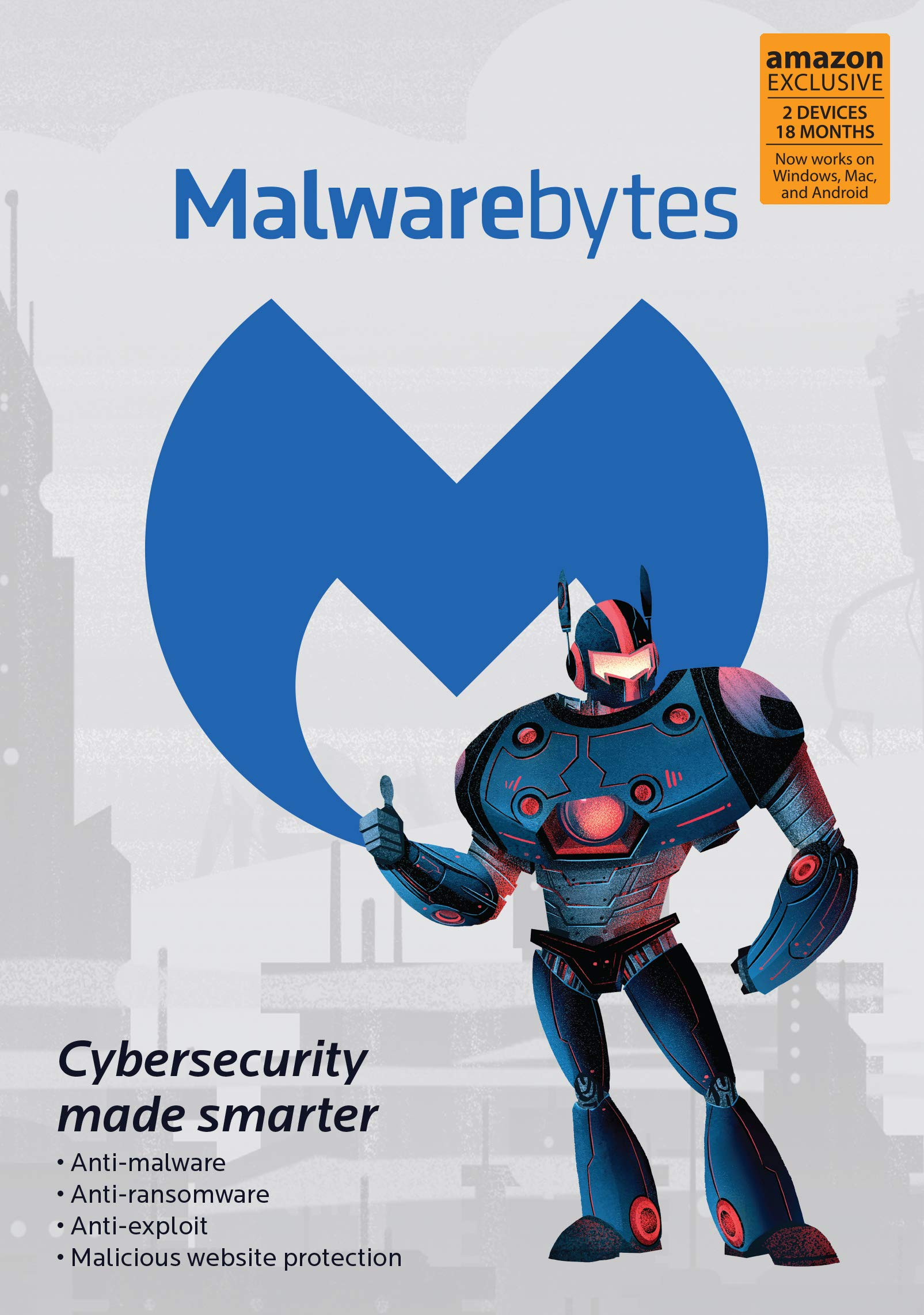 Malwarebytes | Amazon Exclusive | 18 Months, 2 Devices (PC, Mac, Android) by Malwarebytes
