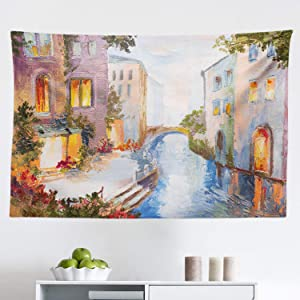 """Lunarable Venice Tapestry, Historical City Vintage Houses Water Canal Venice Italy Oil Painting, Fabric Wall Hanging Decor for Bedroom Living Room Dorm, 45"""" X 30"""", Orange Ivory"""