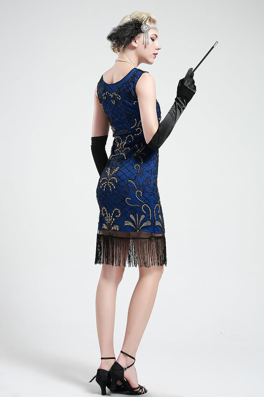 BABEYOND Vintage 1920s Gatsby Beaded Embellished Fringed Flapper Dress Blue (Small, Blue and Gold): Amazon.co.uk: Clothing