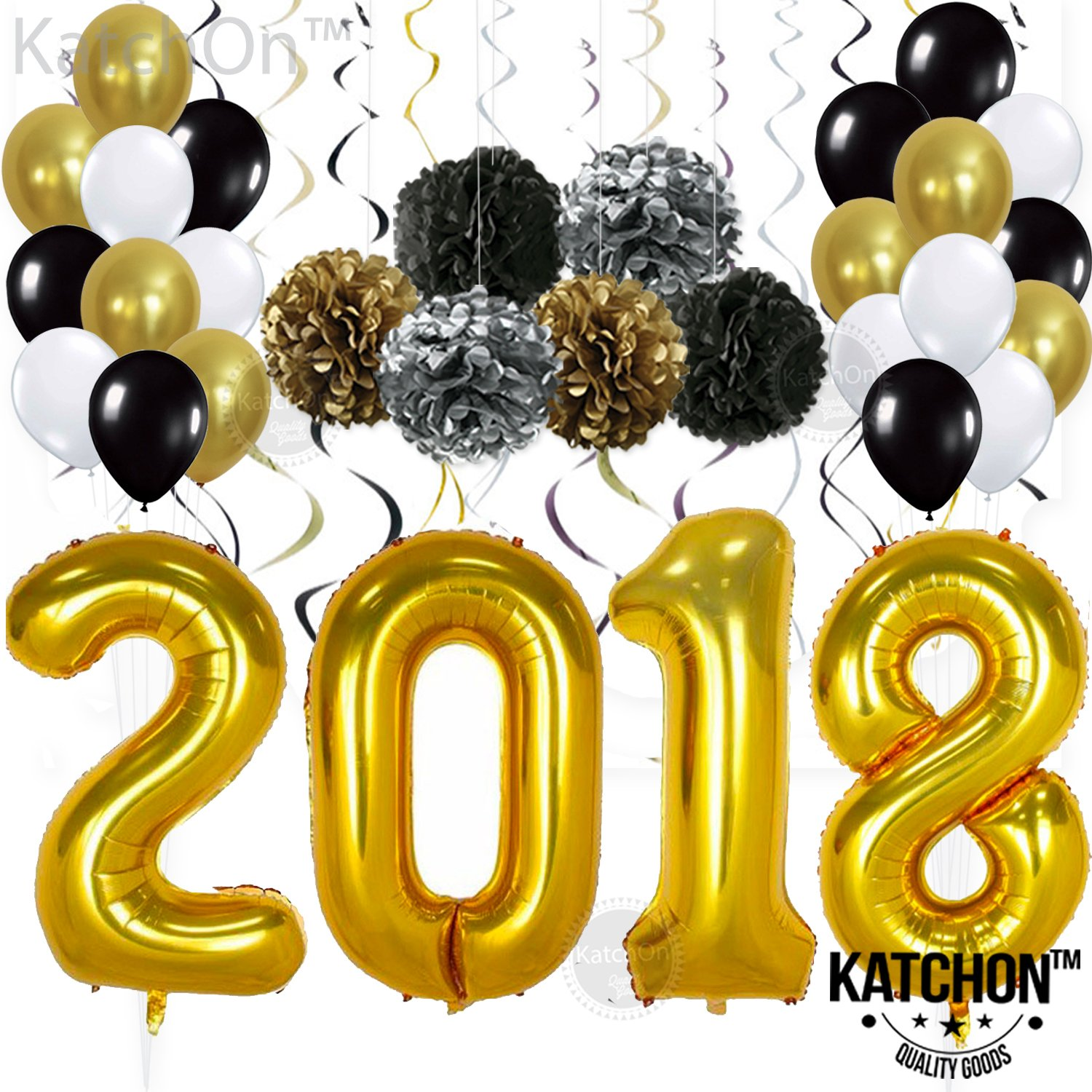 2018 Gold Balloons with Hanging Party Swirls, Paper PomPoms, and Ballons - Graduation Balloons for 2018 Graduation Decorations - Gold Black Silver PomPoms and Swirls -New Years Eve Party Supplies by KATCHON