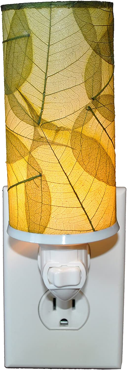 Eangee Home Design Cylinder Night Light Green Shade Made from Real Banyan Leaves 3 Inches Length x 3 Inches Width x 7 Inches Height (624 g)