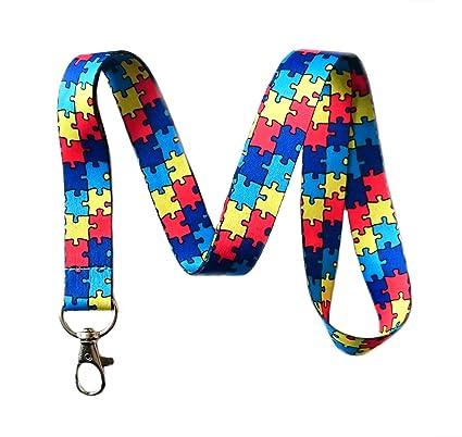 amazon com autism awareness puzzle piece print lanyard key chain