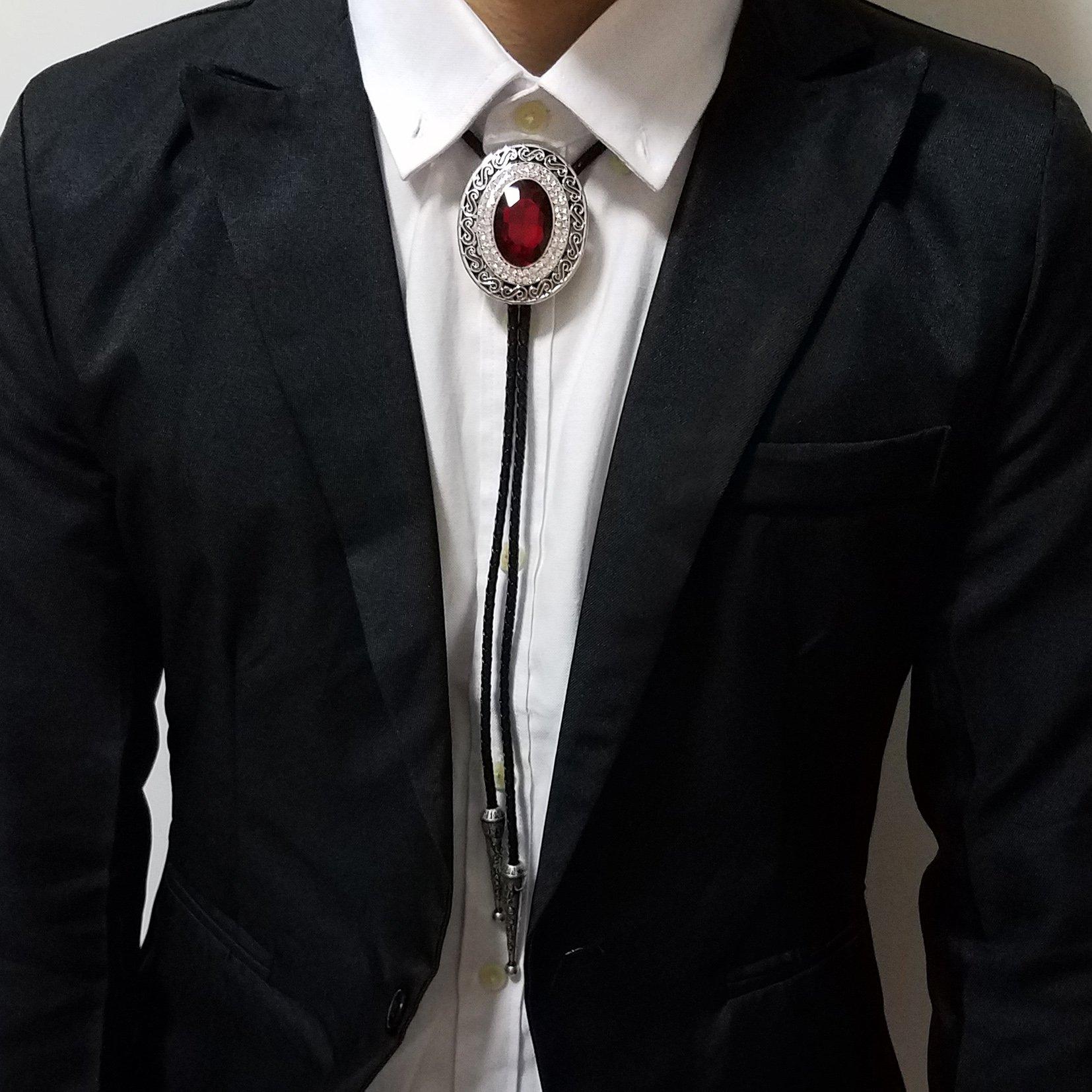 SELOVO Western Big Large Red Rhinestone Western Bolo Tie Genuine Leather Silver Tone by SELOVO (Image #3)