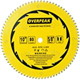 """Overpeak 10 inch 80 Tooth ATB Finish Hard & Soft Wood Saw Blade General Wood Cutting Saw Blade Circular Blade with 5/8"""" Arbor, 4 Silencer slots"""