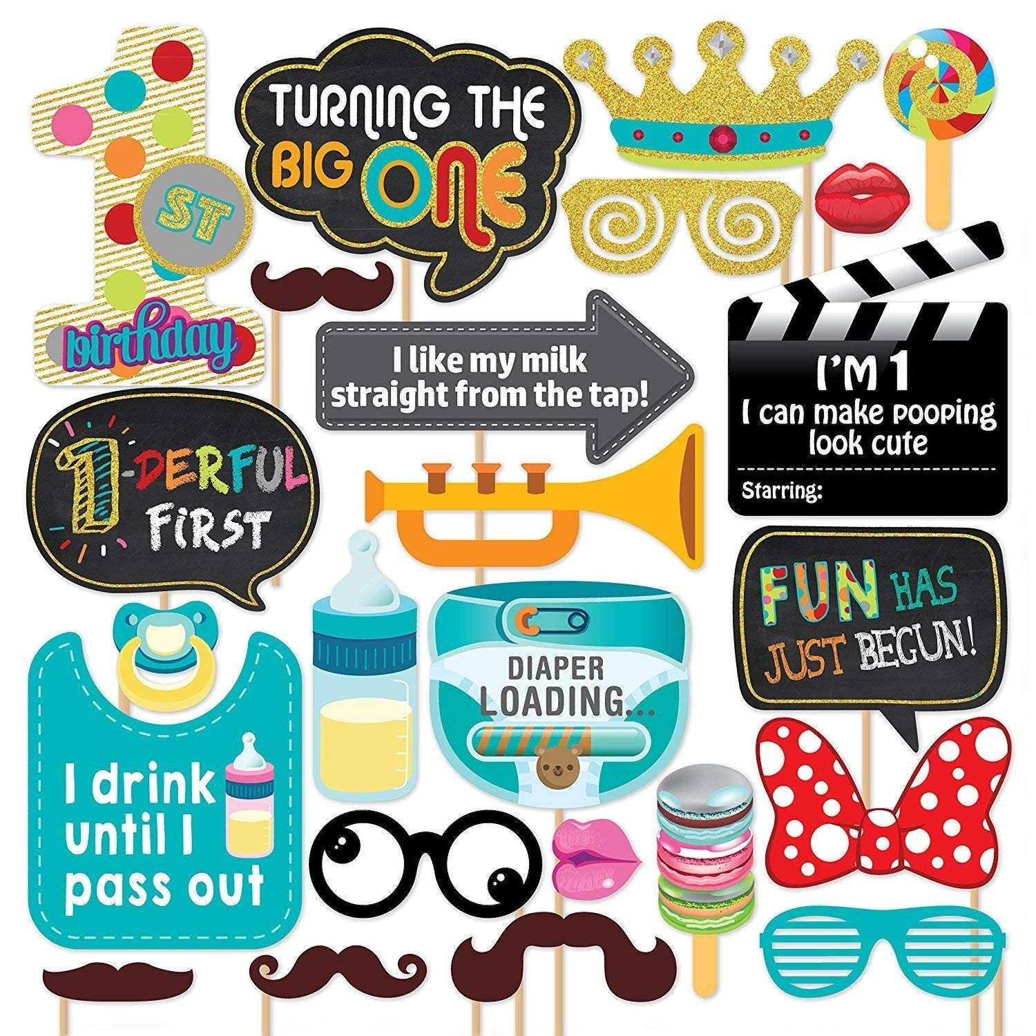 Party Propz First Birthday Photo Booth Props 24pcs For 1st Bday Theme Supplies Girl Boys Baby Kids Combo Decorations Items Cake Smash High Chair Babies Room Decor Photoshoot Selfie Funny Card Props Amazon In Toys Games