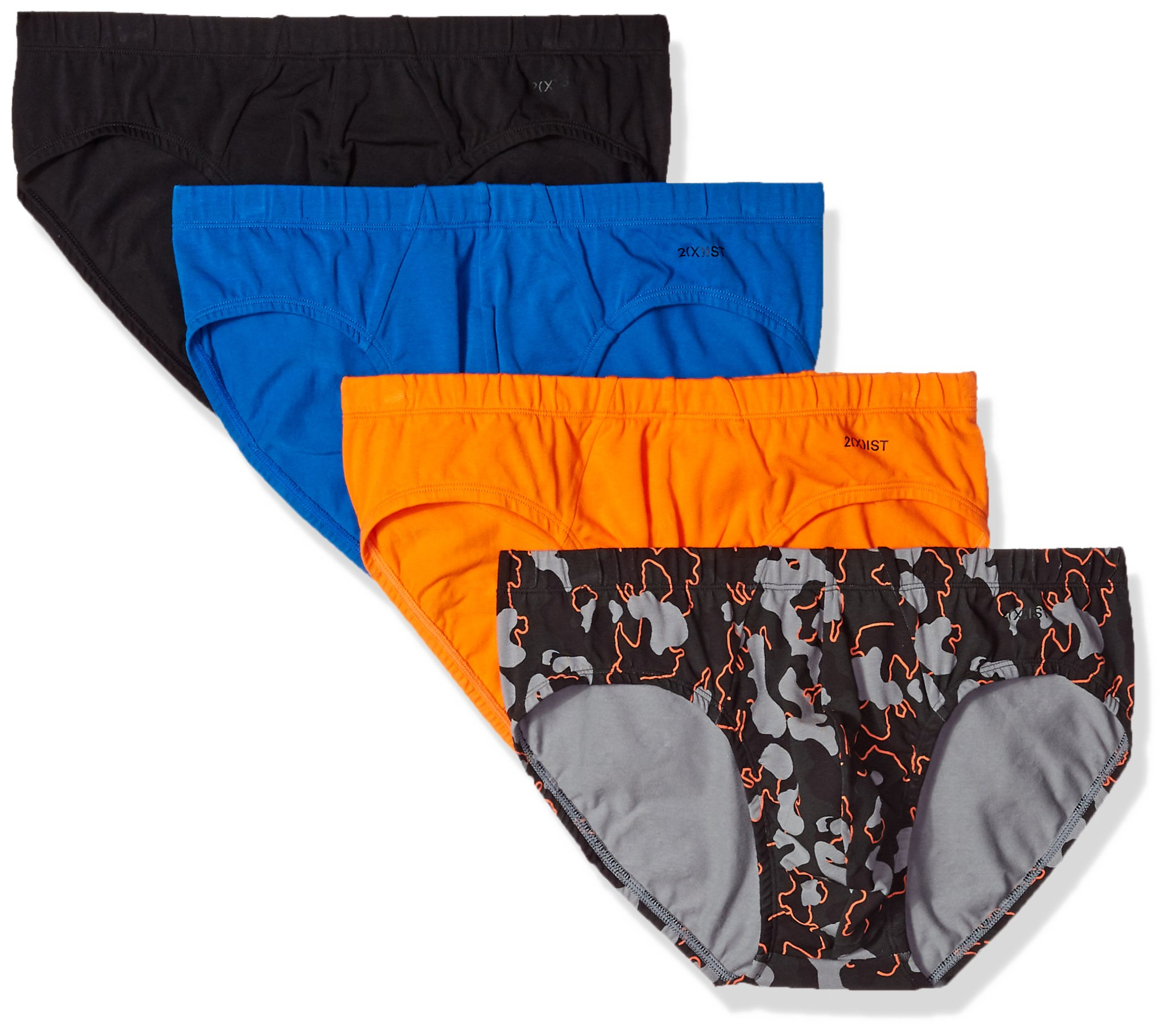 2(X)IST Men's Comfort Cotton Bikini Brief Multipack, Golden Poppy/Lapis/Pop Camo/Charcoal, X-Large