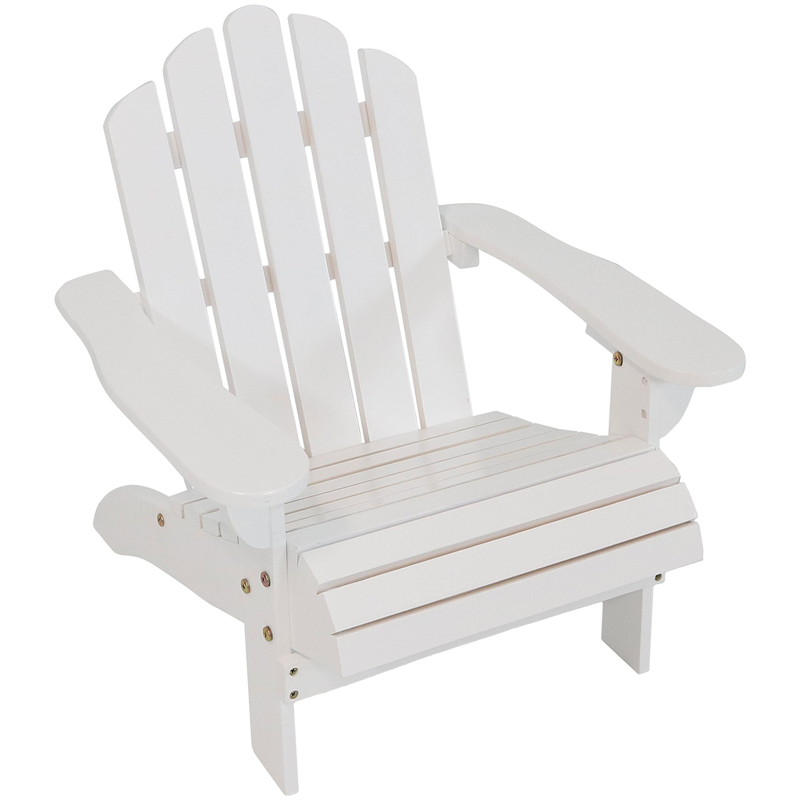 Sunnydaze Toddler Classic Wooden Adirondack Chair with Non-Toxic Paint Finish, Fits Most Children Under 3 Feet Tall, White