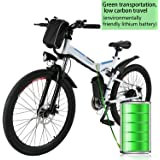"Foldable Electric Mountain Bike 26"" with 36V 8AH Large Capacity Lithium-Ion Battery, Electric Bicycle with 250W Brushless Motor, Premium Full Suspension and Shimano Gear"