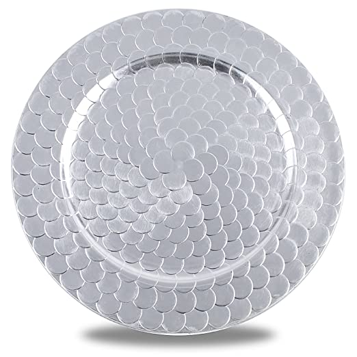 Silver Fish Scale Classic Round Charger Plates Set of 6