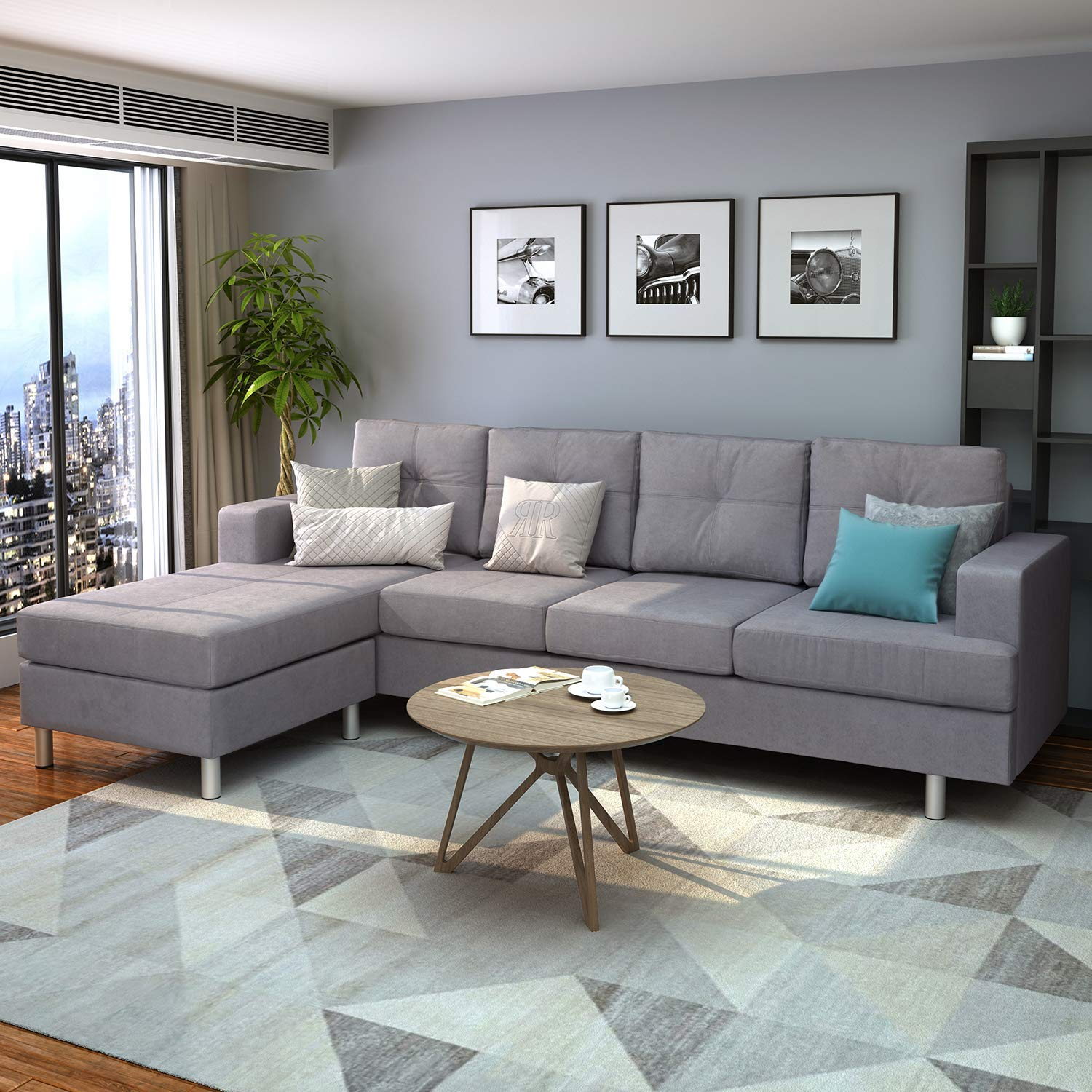 Harper & Bright Designs Modern Sectional Sofa Set with Chaise Lounge for Living Room L Shape Home Furniture 4 Seat(Grey), Without Storage Ottoman, Type1 by Harper & Bright Designs