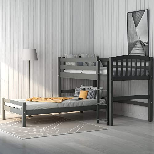 Merax Wood Loft Bed Twin Over Twin Loft Bed Bunk Bed
