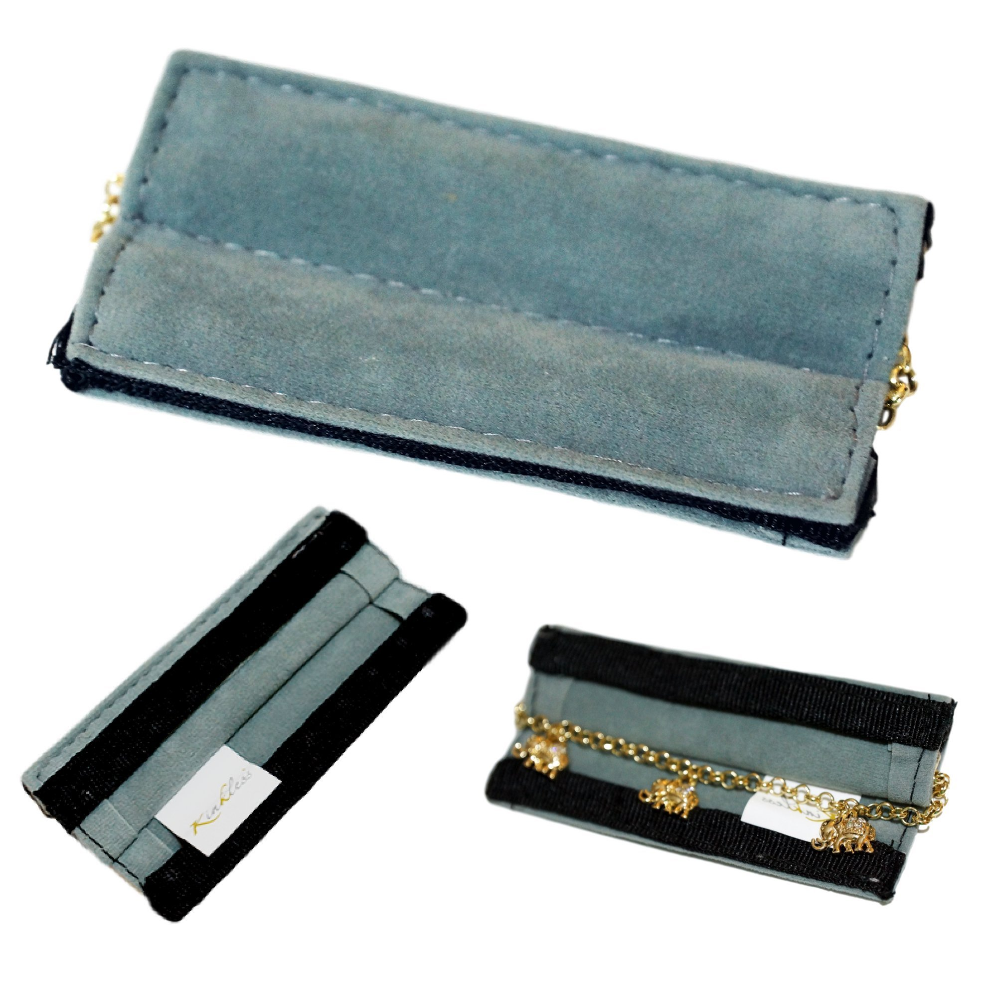 Anti-Tarnish Jewelry Carrier by Kinkless | Polishing Cloth, Kink-Free Travel Case, and Fine Jewelry Protector | Magnetic Zipper (Bracelet Carrier)