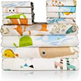 Muslin Swaddle Blankets and Baby Washcloths Set, 4 Pack Baby Swaddle Blankets Newborn and 8 Pack Washcloths for Boys and Girl
