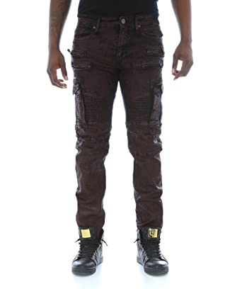 5712313c10 Jordan Craig Men's Slim Stretch Noir Coated Cargo Biker Denim Jeans  -Wine-34/