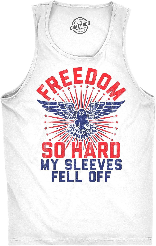 Mens Fitness Tank Freedom So Hard My Sleeves Fell Off Tanktop Funny USA 4th of July Shirt