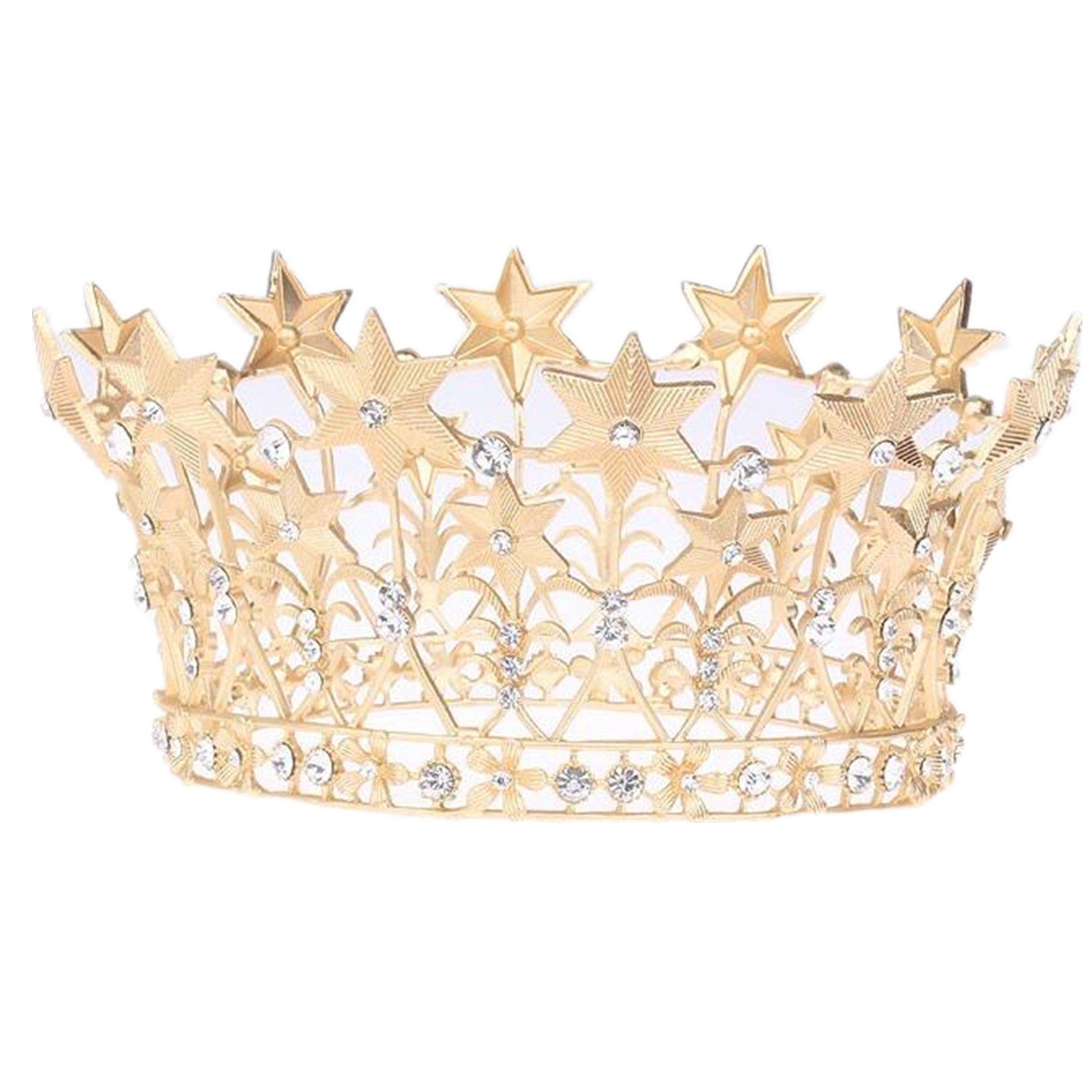 Wiipu Baroque Large Gold Full Circle Crystal Star Tiara Crown,4.7'' Diameter(A1701) (Gold)