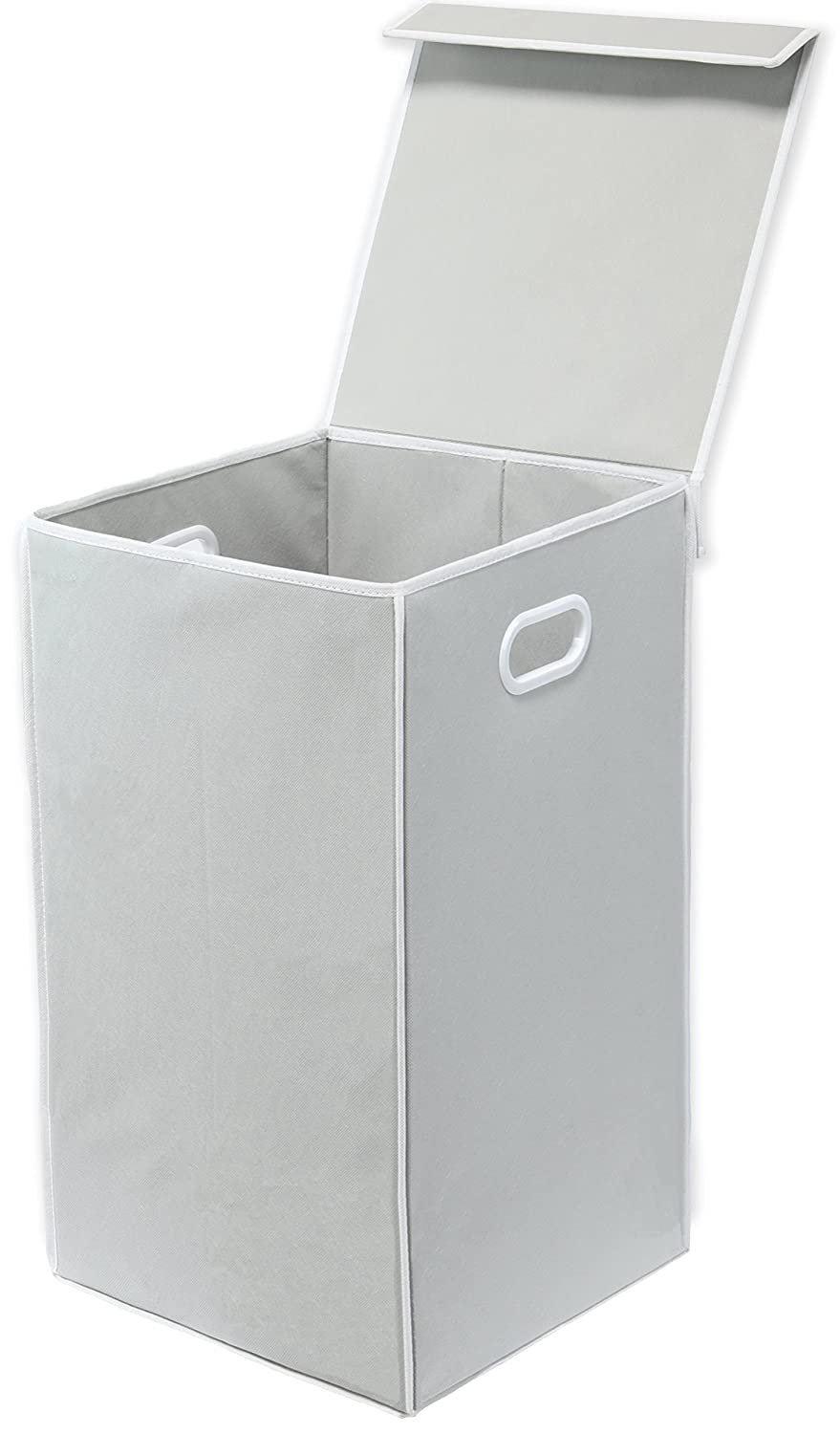 Simple Houseware Foldable Laundry Hamper Basket with Lid, Grey