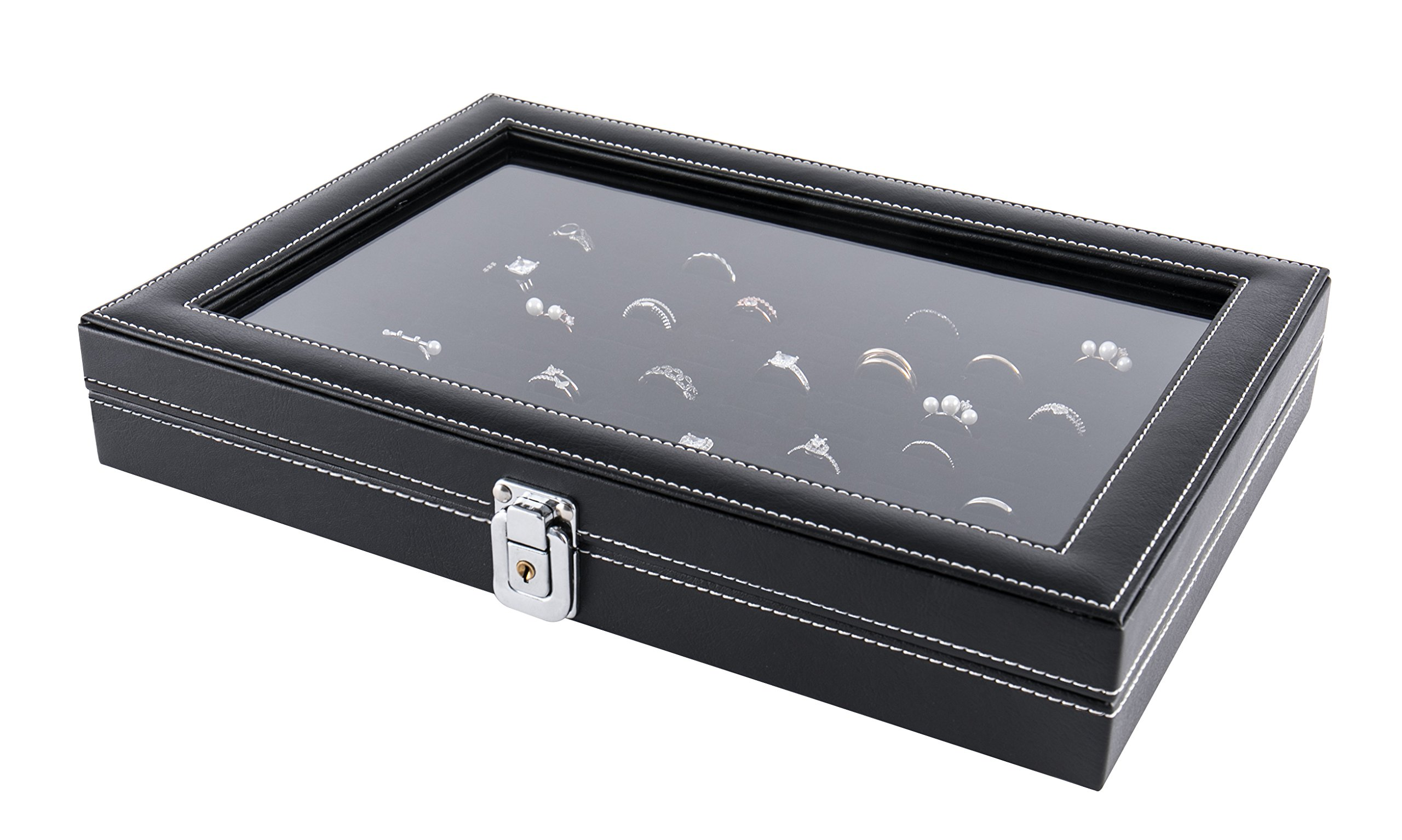 JackCubeDesign Jewelry Ring Display Organizer Storage Box Case Tray Holder with 100 Slot Ring Display and Glass Cover(Black, Inside Black Velvet, 13.3 x 9.3 x 2.1 inches)- :MK376A
