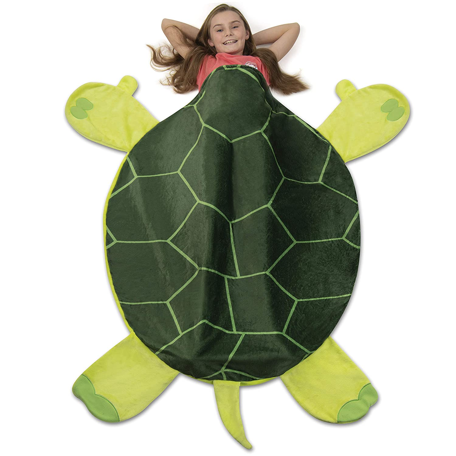 Cozy Turtle Blanket for Children, Pocket Style Kids Tail Blanket Made of Extra-Soft and Durable Fabric | Tortoise Design | Warm and Comfortable, Sleep Sacks for Movie Night, Sleepovers, Camping