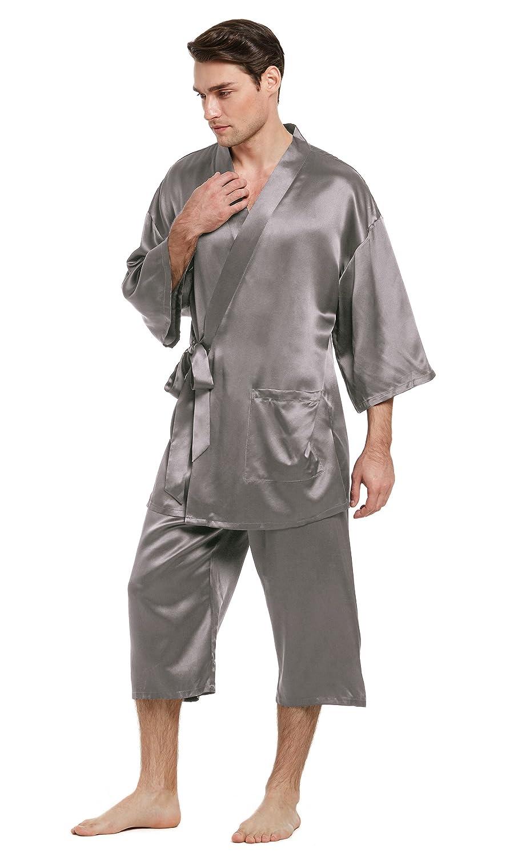 LilySilk(リリーシルク)メンズ パジャマ 和風 贅沢シルク バスローブ ボクサー ローブ 長袖 高級感 心地よい肌さわりシンプル リラックス 部屋着 寝間着 【22匁/キャップ付き/和風】 B077P3QPN4 S|ダークグレー ダークグレー S