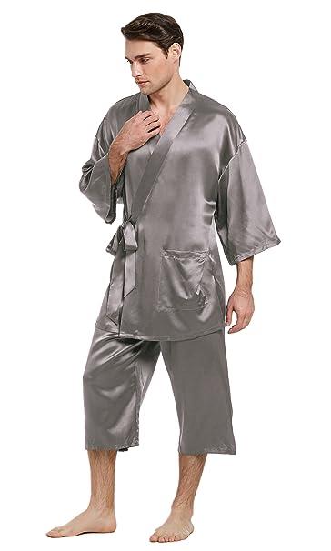 LILYSILK Conjunto de Pijama Hombre 100% Seda Natural de 22 Momme Estilo Kimono, Gris