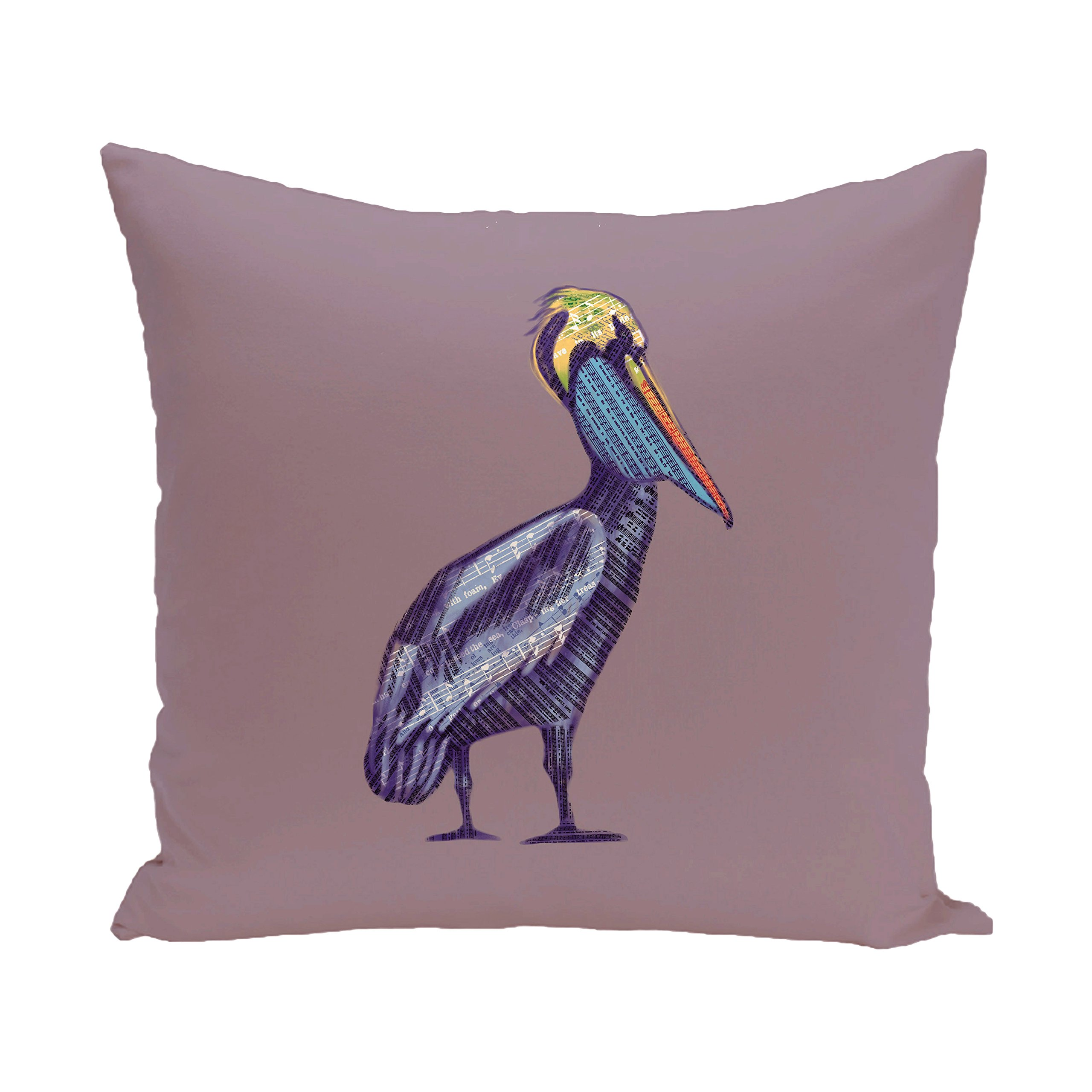 E by design O5PAN463PU14-20 20 x 20 Sea Music Animal Print Purple Outdoor Pillow