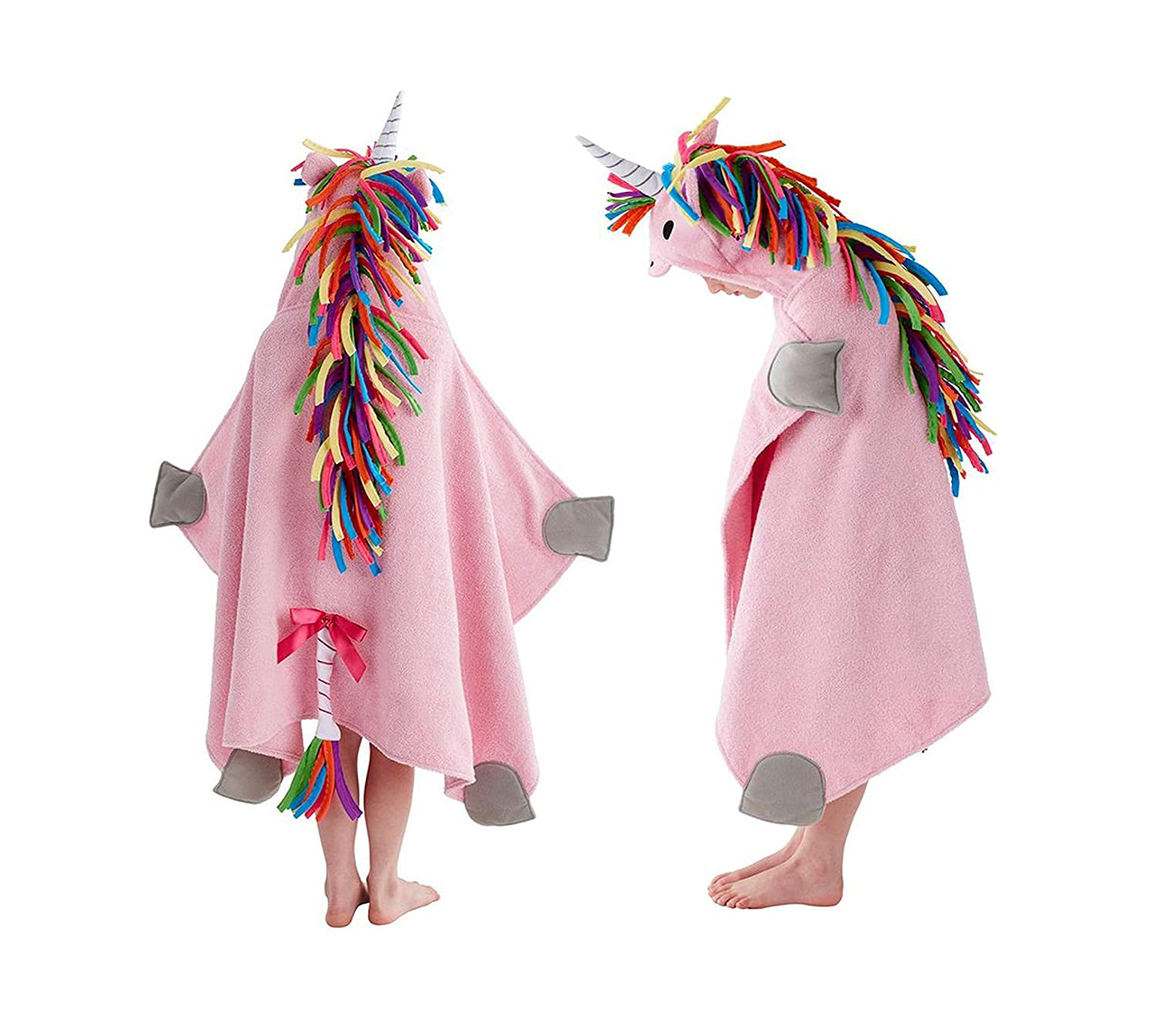 500 - Unicorn Hooded Towel for Dramatic Play, Bath, Beach and Pool (Fits Babies and Children up to 10 Years Old) (Pink) China