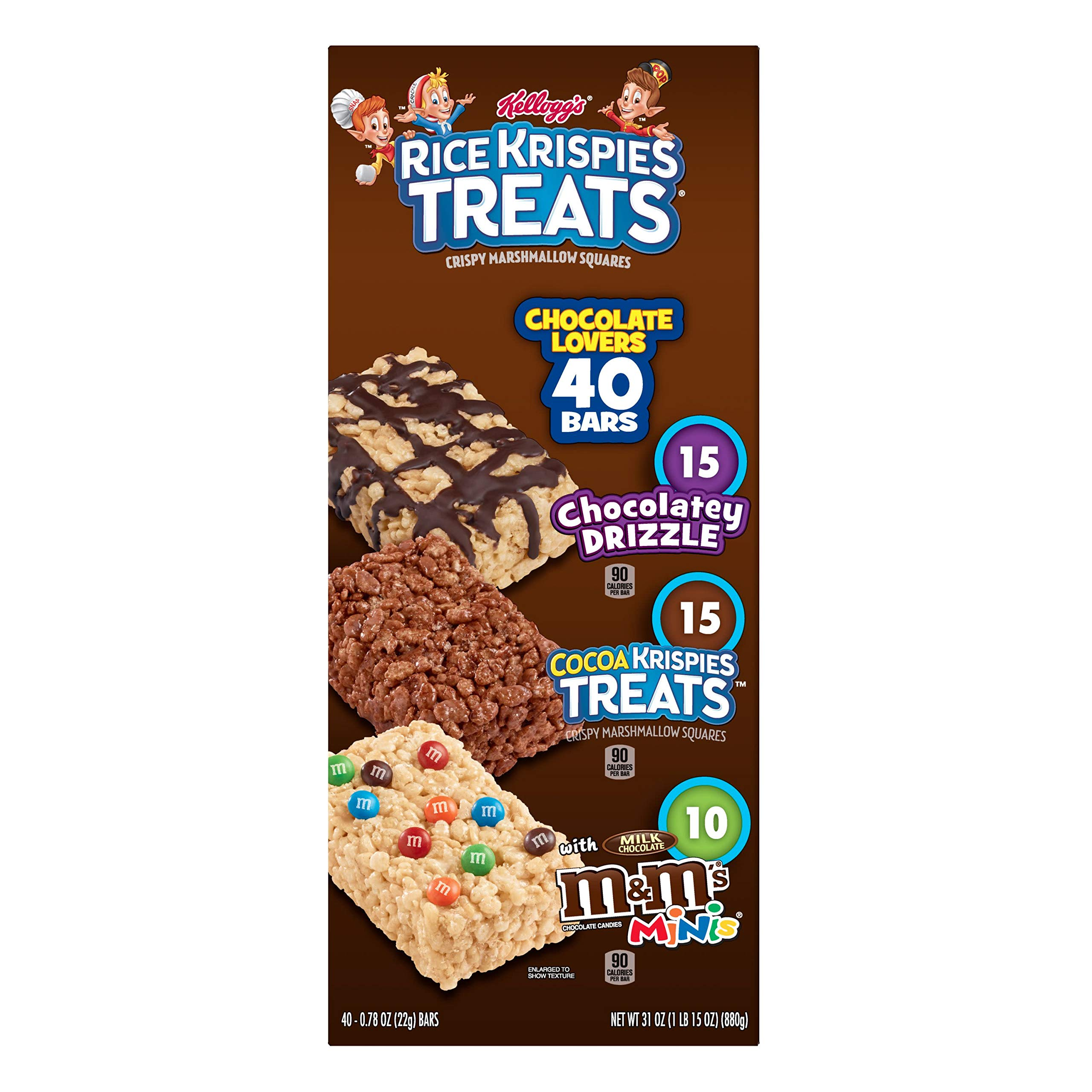 Kellogg's Rice Krispies Treats, Crispy Marshmallow Squares, Chocolate Lovers Variety Pack, Single Serve, 0.78 oz Bars (40 Count) by Rice Krispies (Image #6)