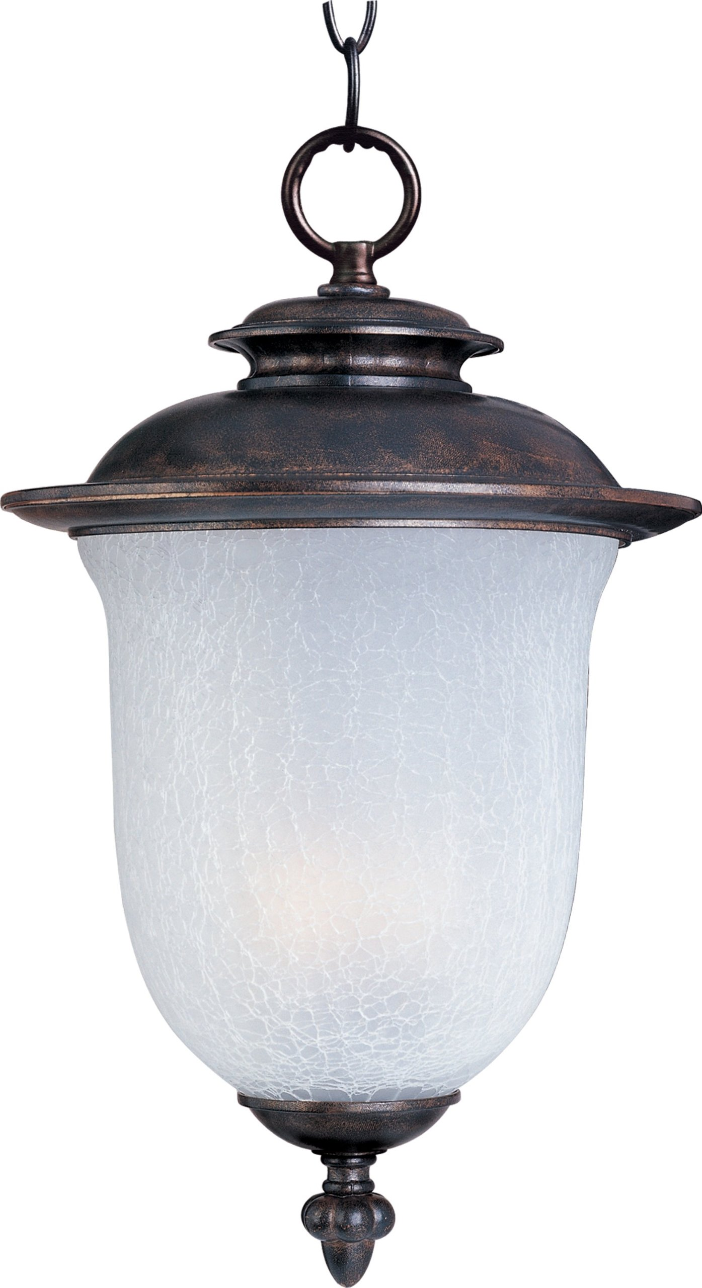 Maxim 55199FCCH Cambria LED 1-Light Outdoor Hanging Lantern, Chocolate Finish, Frost Crackle Glass, LED Bulb , 4W Max., Dry Safety Rating, 2700K Color Temp, Standard Dimmable, Glass Shade Material, 2240 Rated Lumens