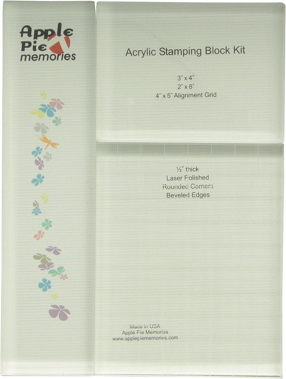 Apple Pie Memories KITAH007 1/2-Inch Thick Acrylic Stamp Block, Set of 3