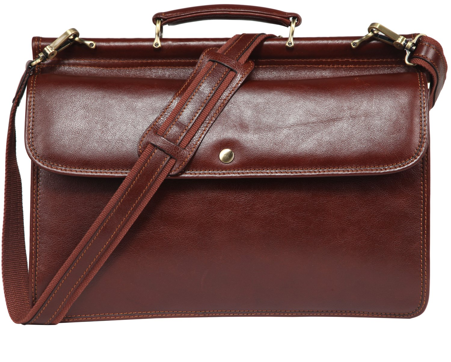 Banuce Mens Italian Leather Flapover Briefcase Tote 2way Business Laptop Messenger Bag Attache Case by Banuce (Image #2)