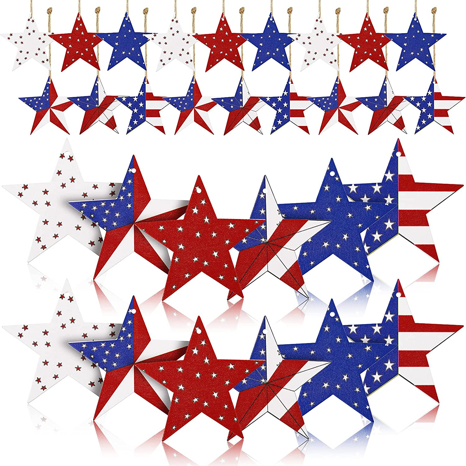 30 Pieces Independence Day Wooden Star Hanging Ornaments American Flag Stars Stripes Star Pendant Ornaments for 4th of July Home Rustic Patriotic Party Wall Decor, 2.8 Inch