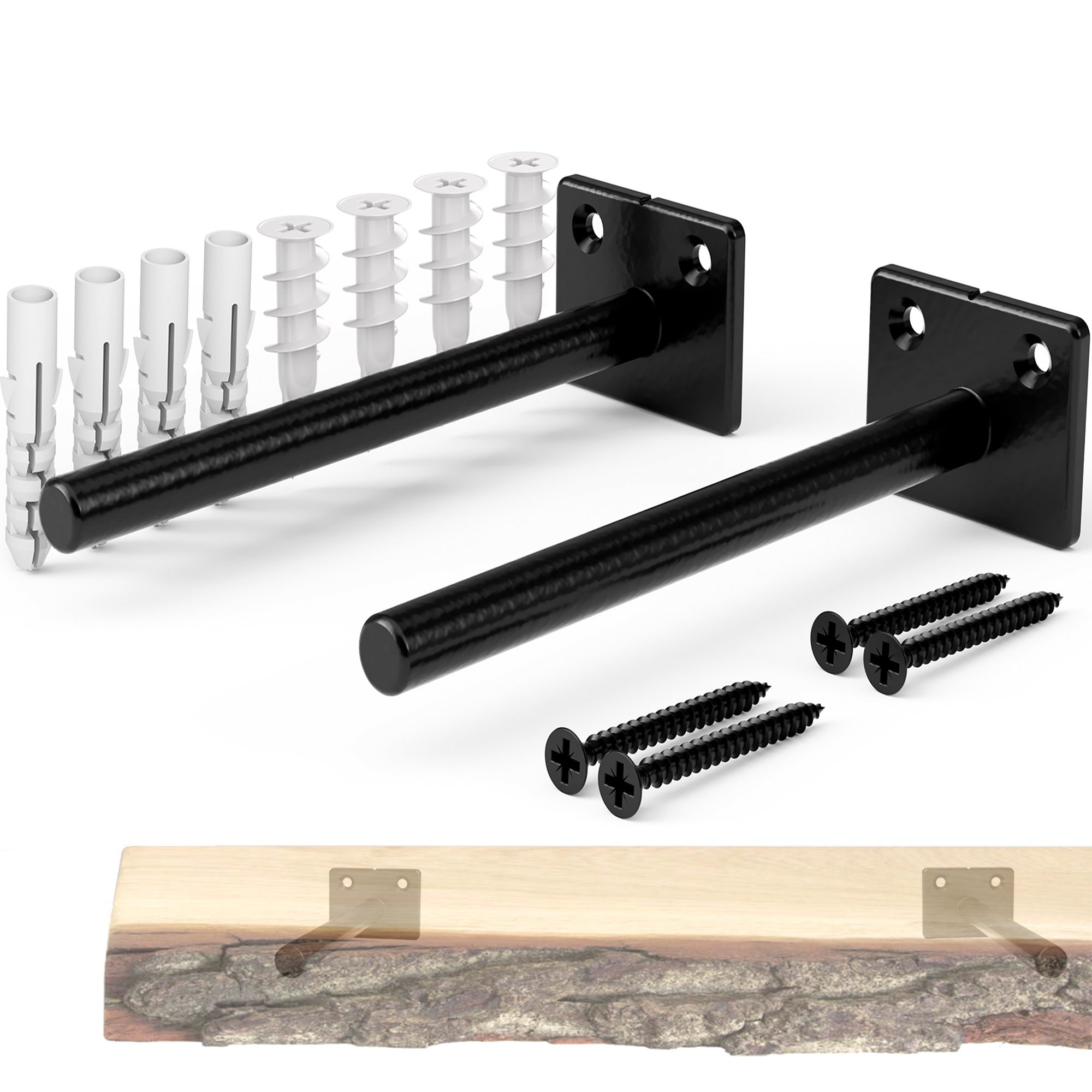 EVALD Floating Metal Shelf Bracket - Rustproof Solid Steel Blind Shelf Supports - 2 Brackets Including Screws & Anchors for Easy Drywall & Brickwall Mounting - Ideal for raw Edge Wood Shelves