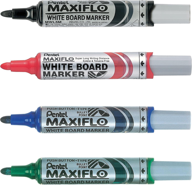 Pentel MWLM5-4N Paquete de 4 rotuladores para pizarra multicolor