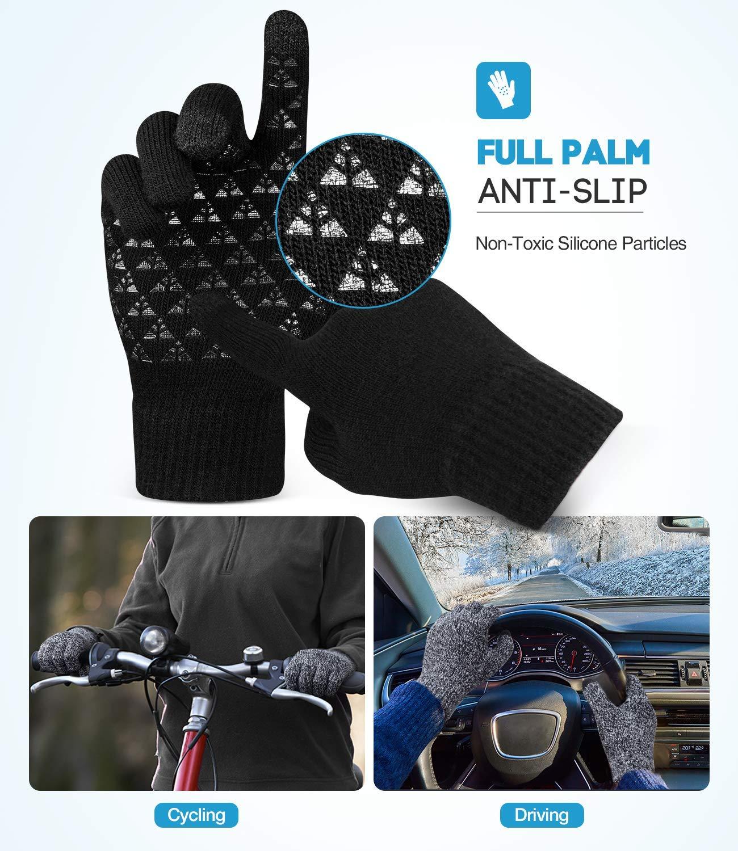 Ksnnrsng Hiver /Écran Tactile Chaud Tricoter Gants pour Femmes Hommes Thermique La Laine Doubl/é SMS