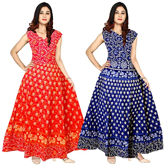 85b93ca98 Mudrika Jaipuri Print Long Maxi Dress for Women and Girls in Free Size (Combo  Pack of 2 pcs): Amazon.in: Clothing & Accessories