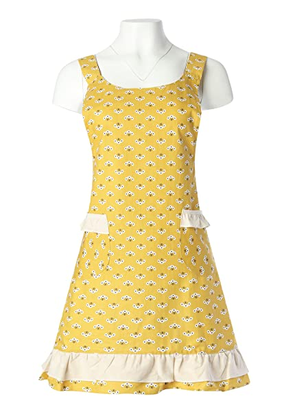 Old Fashioned Aprons & Patterns Home Bene 100% Cotton Pijeon Cute H-back Kitchen Apron for Women Cooking Apron with White Ruffles Waist Ties Two side Pockets Perfect for Cooking Baking Barbecuing Gardening and more Yellow $26.44 AT vintagedancer.com