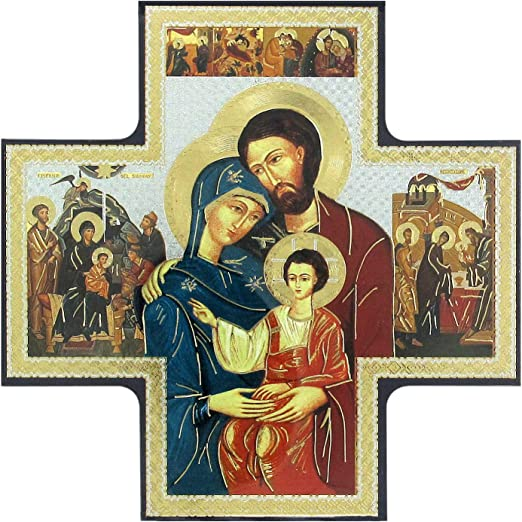 Holy Family Mary Jesus Joseph Icon Style Religious Wall Plaque Decor