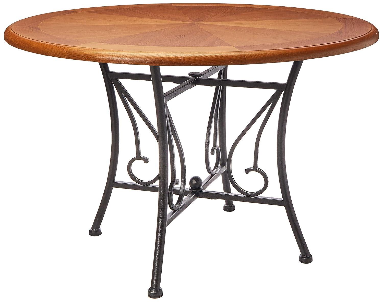 Mesa para Comedor de Madera y Metal, Estilo Rustico, Color Café/Carbon