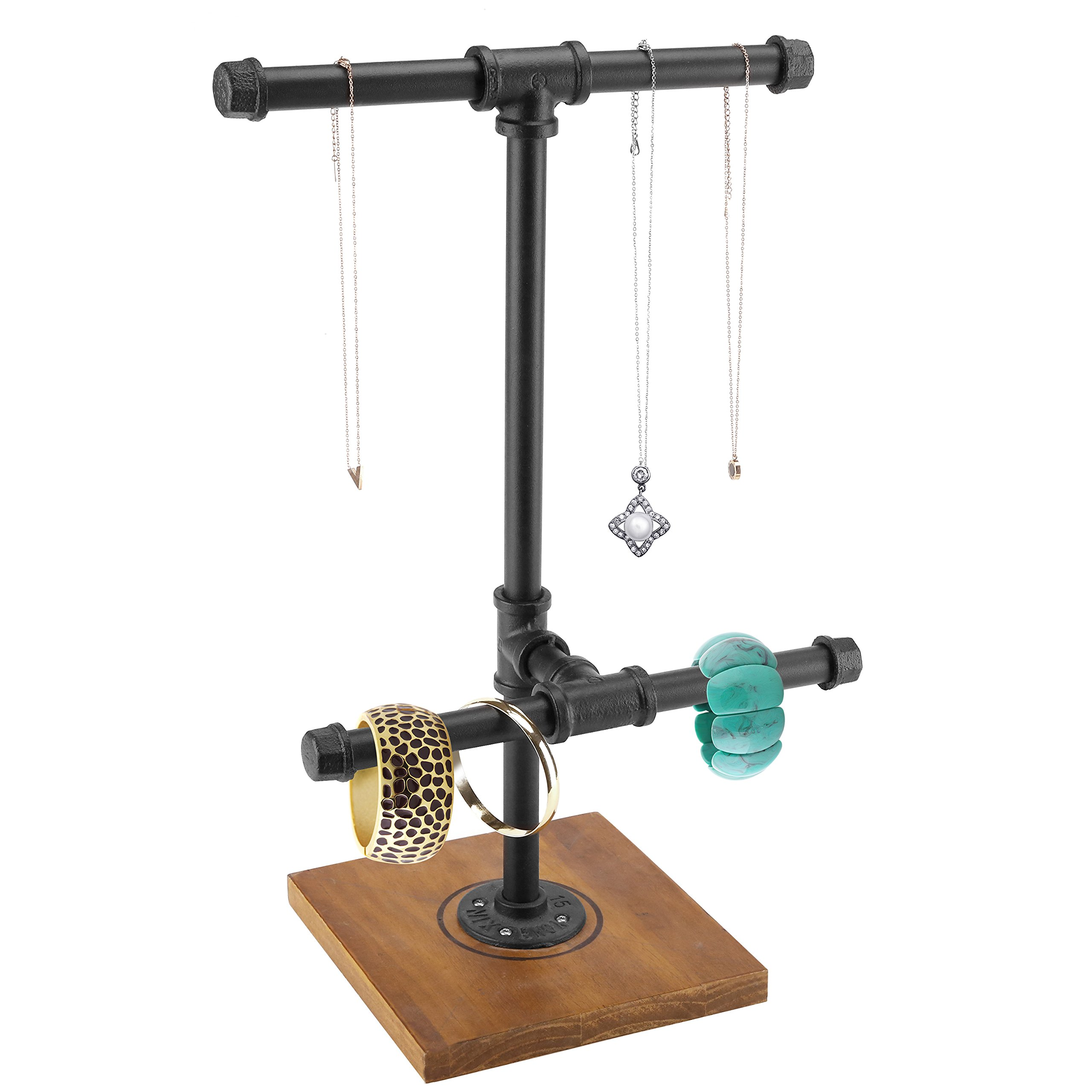 2 Tier Metal Industrial Pipe T-Bar Jewelry Necklace & Bracelets Display Tower w/ Wood Base, Black