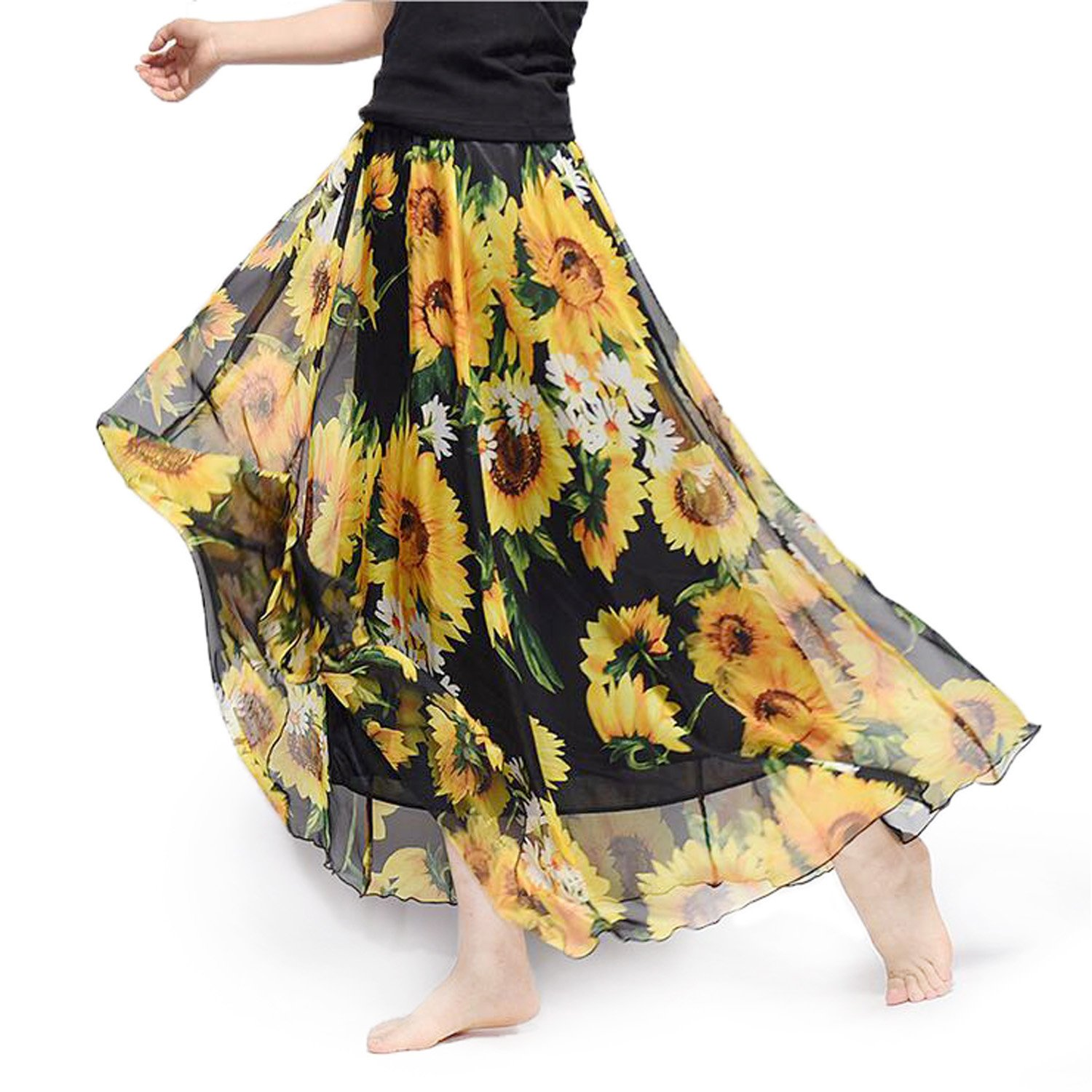 ba93f57fae Yellow Chiffon Pleated Maxi Skirt – DACC