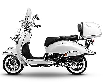 Retro Roller Easy Cruiser Chrom 25 Kmh Mofa 50 Ccm Perlweiß