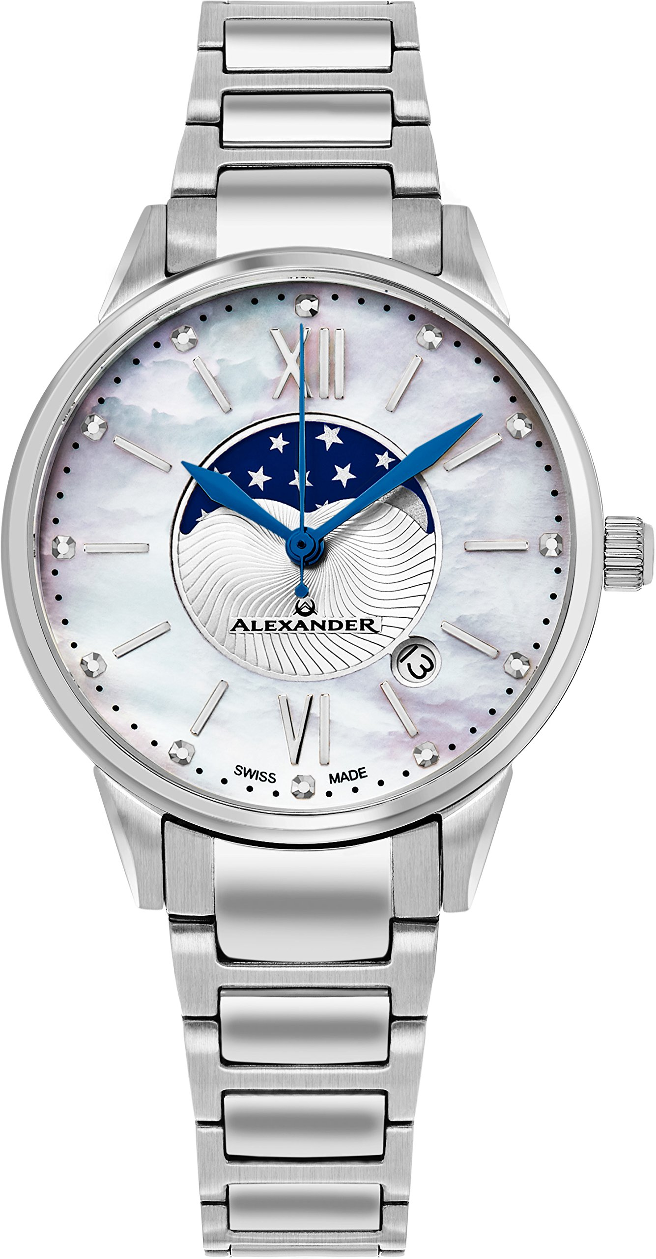 Alexander Monarch Vassilis Moon Phase Date White Mother of Pearl 35 MM Large Face Watch For Women - Swiss Quartz Stainless Steel Silver Band Elegant Ladies Fashion Designer Dress Watch A204B-01