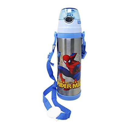 PARTEET Cartoon Spider Man Printed Stainless Steel BPA-free Water Bottle, Sipper for Kids, 500…